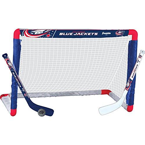 (Franklin Sports Columbus Blue Jackets Mini Hockey Knee Hockey Goal, Ball & 2 Stick Combo Set - 28