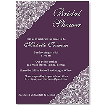 bridal shower invitations lace plum purple eggplant white wedding