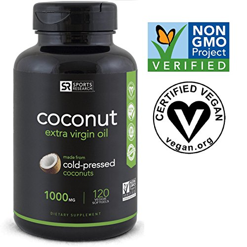 Premium Coconut Oil (Plant Based) - 120 Veggie-Softgels; The Only non-GMO project verified, Vegan safe, Extra Virgin Coconut Oil Supplement Available - 1000mg per softgel