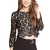 Willow S Women Sexy Fashion Irregular Hem Soild Lace Long Sleeve Loose Casual Tunic Shirt Crop Blouse Black