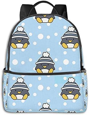 冬 ペンギン スノーフレーク柄 リュックサック バックパック スクールバッグ 幼稚園 通園 入園 入学 チアフルデイパックかわいい おしゃれ 学生 男の子 女の子 遠足 フラッシュデイ