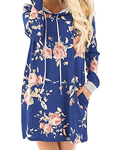 Hood Party Floral Dress Comfy Loose Women's Pockets Evening Blue Coolred 6PUCqC