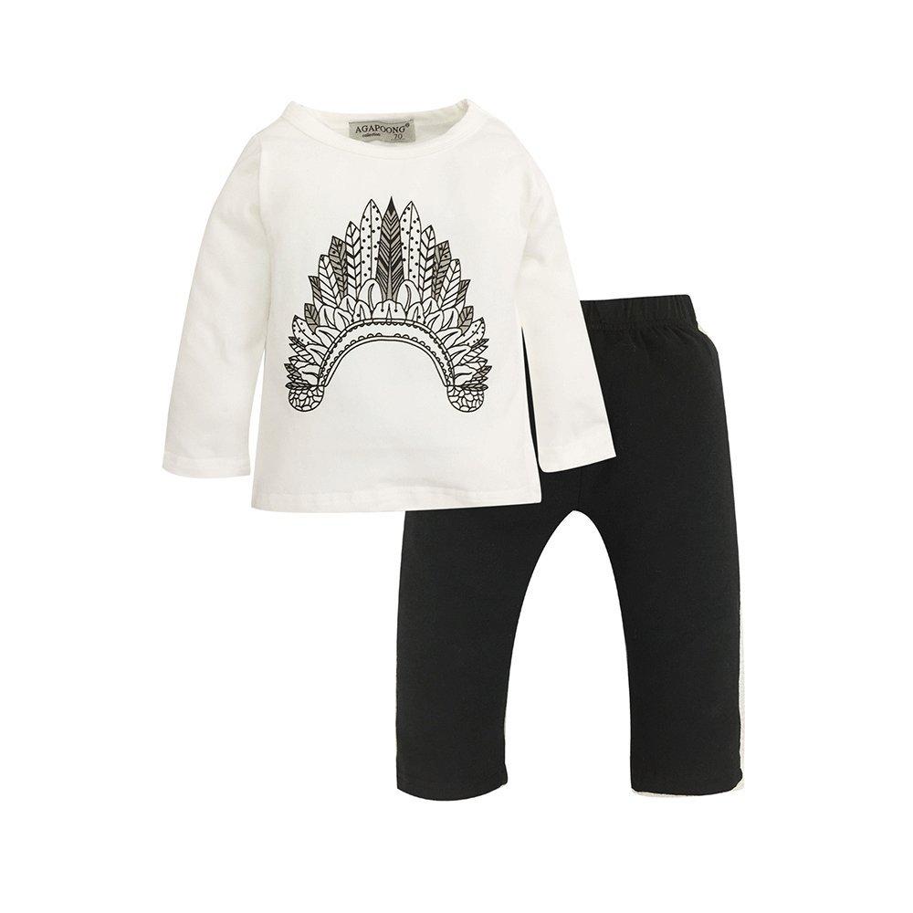 Hishary 2PCS Newborn Baby Boys Cute Letter Print Romper Pants Outfits Set Hisharry17121101