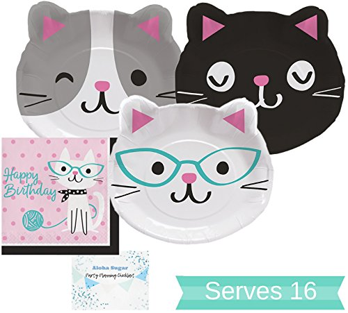 Cat Party Supplies Set - Plates and Napkins for 16 People - Cat Party Decorations Perfect for Birthday Party and All Fun Events!