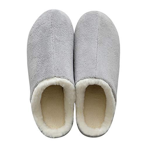 Grey Fuzzy House Slippers Cozy Tuoup Women's Outdoor Winter Indoor tBwxSqvn86