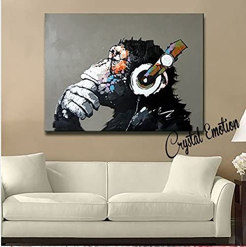 Crystal Emotion Modern Framed Gorilla Monkey Music Oil Painting Wall Decoration Painting Home Decor Oil Painting on Canvas