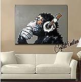 Modern Framed Gorilla Monkey Music Oil Painting Wall Decoration Painting Home Decor Oil Painting on Canvas