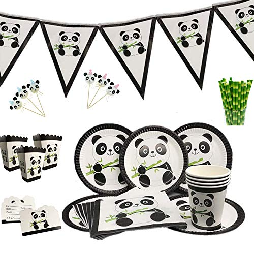 Panda-Monium Party Supplies Includes: Dinner Plates, Popcorn Boxes, Cups,Flags/Banner and Birthday Cake Topper Decorations -
