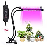 20W Led grow lights for indoor plants, 40LEDs Artificial Dual Head plant lamp, 3 Modes Timer(3H/6H/12H) for office/house/Gardening/Hydroponic/Aquatic growing plants,vegetable,Flower,Seedling