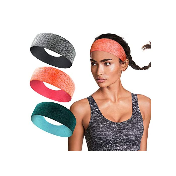 isnowood 3 Pack Workout Headbands for Women – Sweat Hair Bands for ... 1911ea02b