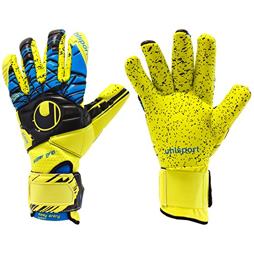 Uhlsport Player (Mens Uhlsport SPEED UP NOW SUPERGRIP FINGERSURROUND 7.5 Goalkeeper Gloves yellow For Soccer)