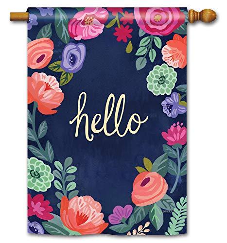 BreezeArt Studio M Boho Flowers Decorative Spring Summer Floral Standard House Flag Banner - Premium Quality, 28 x 40 Inches ()