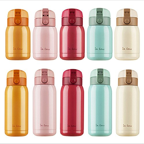 Surprising Day Hot Sales!! 200ML/280ML Cute Mini Coffee Vacuum Flasks Thermos Stainless Steel Drink Water Bottle Termos Termo Cups Travel Mugs Beige 200ML