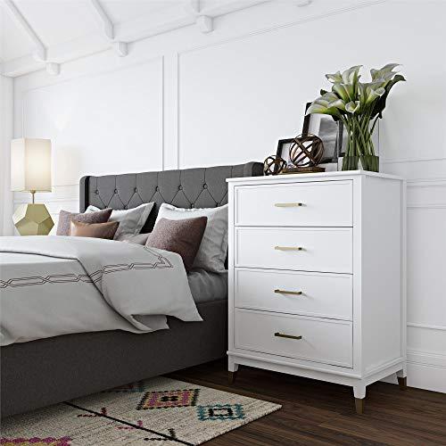 Bedroom Painted Dresser - CosmoLiving Westerleigh 4 Drawer Dresser, White