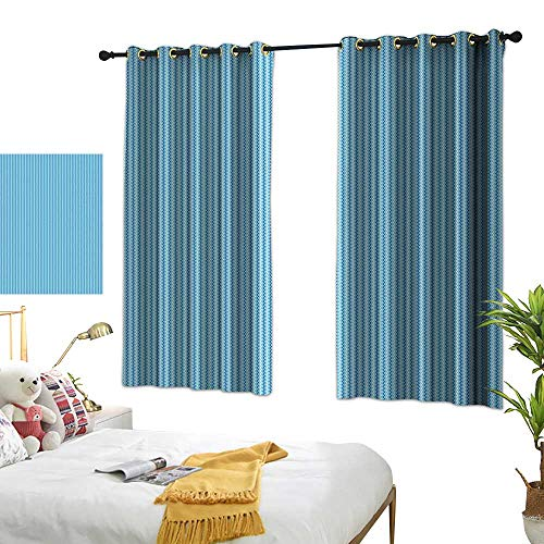 Bedroom Curtains W72 x L45 Blue,Vertical Modern Striped Pattern Border Seem Zig Zag Lines Artwork,Sky Blue Navy Blue and White Room Darkening Curtains for Childrens Living Room Bedroom