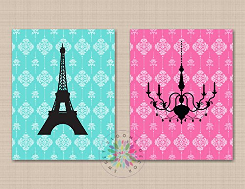 - Paris Wall Art Paris Girl Room Decor Eiffel Tower Chandelier Wall Art Paris Bedroom Decor Girl Bedroom Pink Green Teal UNFRAMED 2 PRINTS (NOT CANVAS) C623