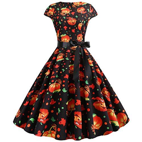 DONTAL Women New Halloween Pumpkin Print Round Neck Zipper Party Cocktail Dress Swing Dress Black