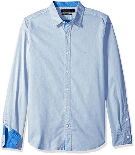 Nautica Mens Long Sleeve Stretch 2 Tone Twill Slim Fit Button Down Shirt