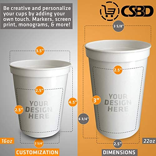 CSBD Stadium 16 oz. Plastic Cups, 10 Pack, Blank Reusable Drink Tumblers for Parties, Events, Marketing, Weddings, DIY Projects or BBQ Picnics, No BPA (Black) 4