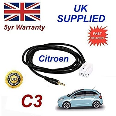 Citroen C3 3 5mm Aux input adapter cable Model Year 2005