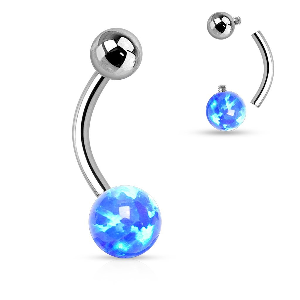 Belly Button Ring Navel Lab Opal Internally Threaded Opal Ball 316L Surgical Steel Body Accentz