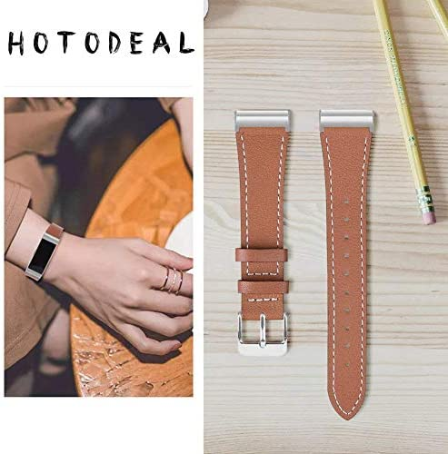 Hotodeal Leather Band Compatible Charge 3, Classic Replacement Genuine Leather Bands Metal Connectors Women Men Small Large Size Silver, Rose Gold, Black 2