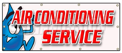 "36""x96"" AIR CONDITIONING SERVICE BANNER SIGN ac cooling air cold maintenance"