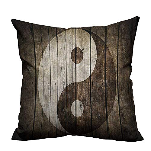 (Sofa Waist Cushion Cover Rustic Wood with Ying Yang Sign Art Design Zen Peace Decorative for Kids Adults(Double-Sided Printing) 31.5x31.5 inch)
