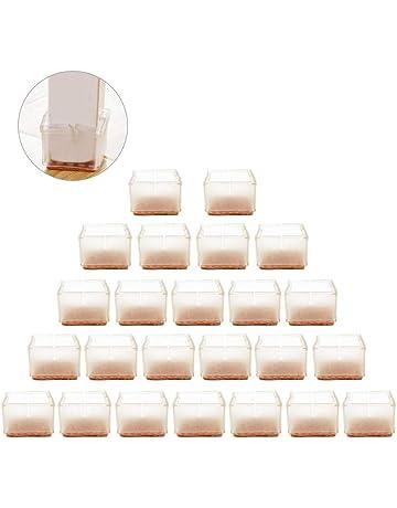 URMOSTIN 16 Piezas Silicona Almohadillas de Pata de Silla Antideslizante Tazas de Goma para Pies de Silla Muebles Patas Tapas Protector de Piso para 22-28mm Patas Cuadrados