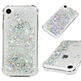 iPhone XR Case 6.1 inch, Liquid Glitter Case Bling Shiny Sparkle Flowing Moving Love Hearts Cover Clear Ultral Slim Protective TPU Bumper Shockproof Drop Resistant Quicksand Case for iPhone XR