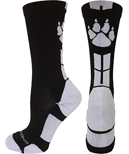 MadSportsStuff Wild Paws Crew Socks (Black/White, Medium)