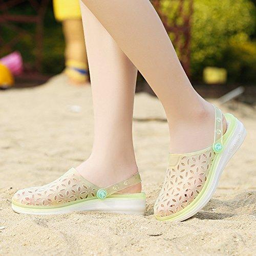 EnllerviiD Women Closed Toe Summer Flat Jelly Sandals Cut-out Rain Garden Beach Slides Shoes 018 Yellow YZHVRsY