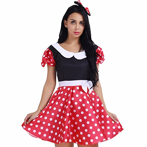 FEESHOW Women Ladies Polka Dots Short Sleeve Costume Dress with G-string and Hair Hoop Red&Black (Retro Miss Mouse Adult Costumes)