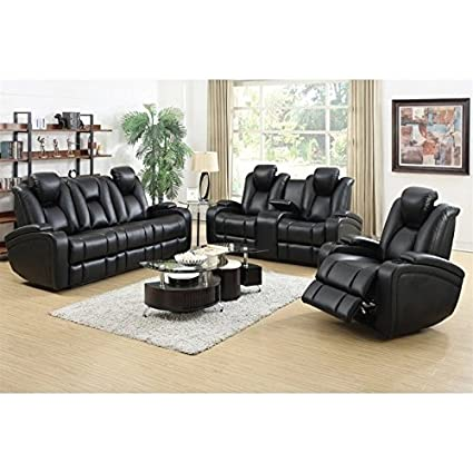 Coaster Delange Faux Leather Power Reclining Sofa Set in Black