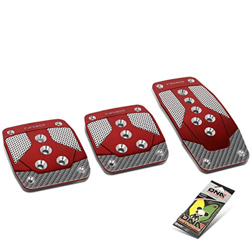NRG Innovations PDL-400RD Aluminum Manual Transmission MT Foot Pedal Cover Plates + Air Freshener