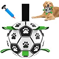 Dog Soccer Ball with Grab Tabs, for Medium to Small Dogs. Interactive Indoor and Outdoor Dog Toy That Floats in Water…