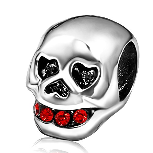 JMQJewelry Skull Halloween Birthstone Heart Red July Charms Bead For Bracelets July Birthstone Heart Charm
