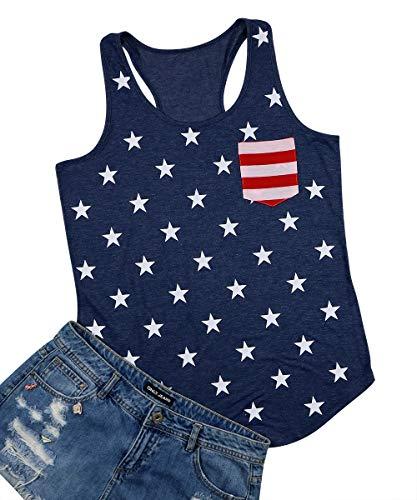 (Vintage American Flag Print Tank Tops for Women Patriotic USA American Flag Sleeveless Graphic Print Tank Tops Tee Shirt Size XL (Blue) )