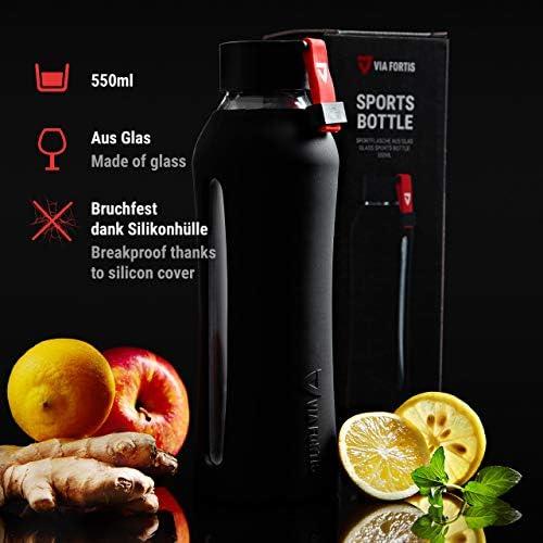 VIA FORTIS - Botella de Vidrio para Deporte, Fitness, Gimnasio ...