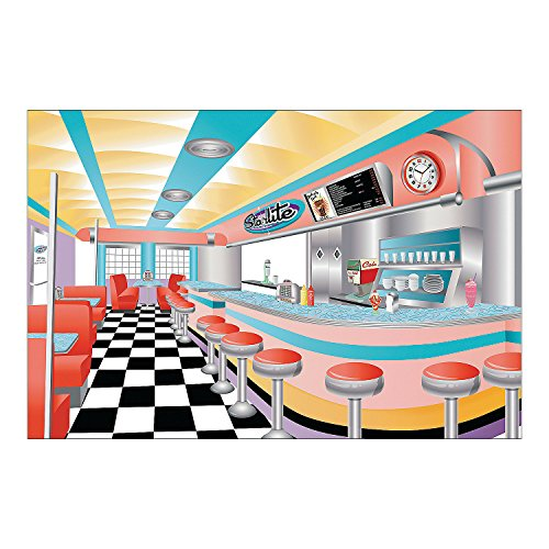 1950 Diner Decor (Fun Express - Rockin 50s Backdrop Banner for Party - Party Decor - Wall Decor - Preprinted Backdrops - Party - 3)