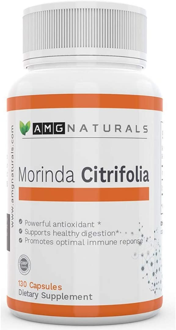 AMG Naturals Morinda Citrifolia from 100 Organic Natural Noni Capsules with No Binders Fillers or Added Preservatives Premium Super High Extra Strength Noni Berry Per Serving Only The Best