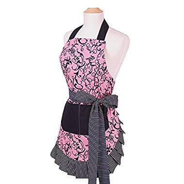 Apron for Women with Pockets, Extra Long Ties, G2PLUS? Floral Apron, Perfect for Kitchen Cooking, Baking and Gardening, 29 x 21 - inch (Pink Flower with Black Pocket)
