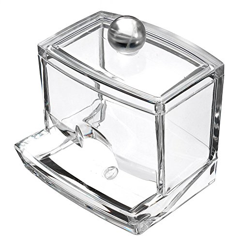 LanMa Clear Acrylic Q-tips Cotton Swabs Holder Cotton Bud Storage Box - Cosmetics Makeup Storage Holder Box Organizer