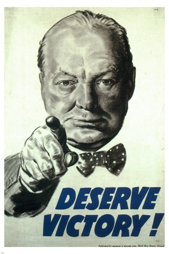 Deserve victory VINTAGE WAR POSTER Winston CHURCHILL UK 1945