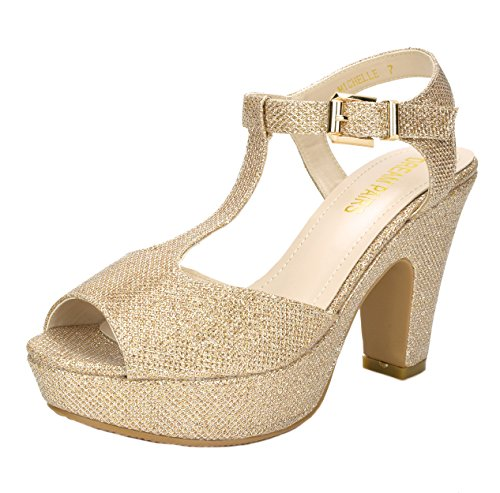 DREAM Mid Sandals Heel PAIRS Womens Michelle Gold Platform Pump rqxrat