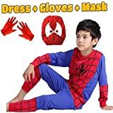 Fancy Steps Complete Spiderman Costume + Gloves + Mask Superhero Costume (3 Years)