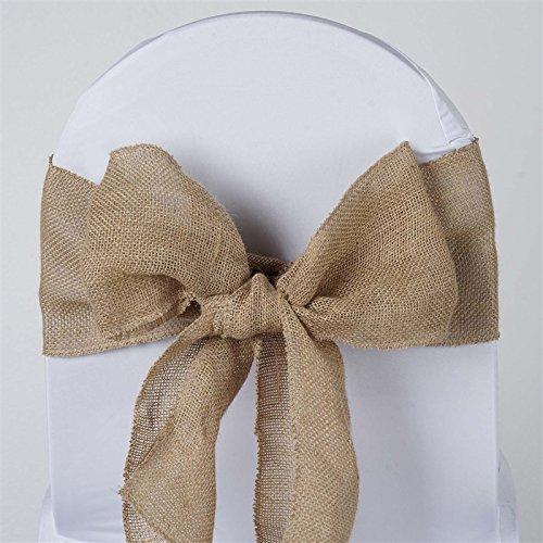 BalsaCircle 10 Natural Burlap Chair Sashes Bows Ties - Wedding Party Ceremony Reception Decorations Supplies Wholesale