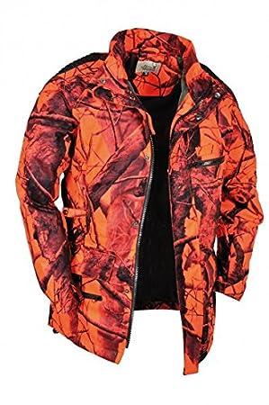 Chaqueta de caza para mujer de Hubertus. Chaqueta de camuflaje naranja, cortavientos e impermeable: Amazon.es: Deportes y aire libre