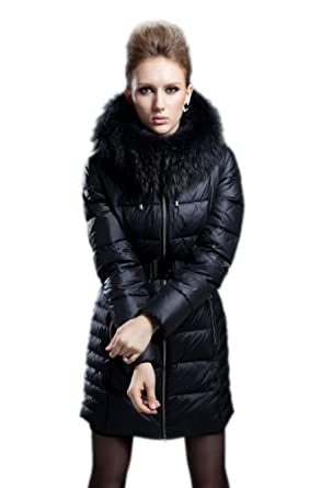 Queenshiny Women's Raccoon Collar Hooded Long Down Jacket at ...