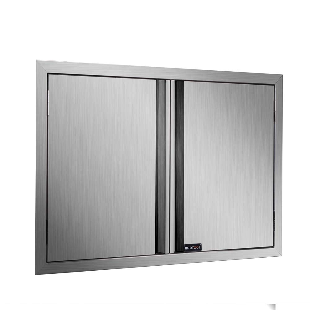DaTOOL Stainless Steel BBQ Door,304 Brushed BBQ Access Door Cutout 31WX24H, Double BBQ Island Door for Outdoor Kitchen, Commercial BBQ Island, Outside Cabinet, Barbeque Grill (31WX24H)